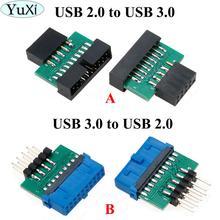 YuXi Adaptador USB 3,0 de 19 pines y 20 pines hembra a USB 2,0, macho de 9 pines, USB 3,0 de 19/20 pines a USB 2,0, de 9 pines Adaptador convertidor, Frente del chasis