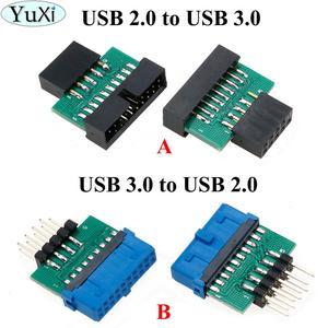Image 1 - YuXi Adaptador USB 3,0 de 19 pines y 20 pines hembra a USB 2,0, macho de 9 pines, USB 3,0 de 19/20 pines a USB 2,0, de 9 pines Adaptador convertidor, Frente del chasis