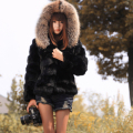 New genuine real rabbit fur coat with raccoon fur hooded Women's fashion black color  jacket   customized big size 88-120 bust