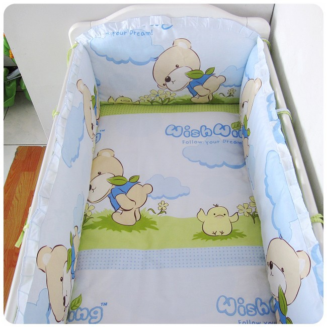 Promotion! 6PCS Bear cotton baby bedding bumper set baby bed around child bedding wall 100% cotton (bumper+sheet+pillow cover)
