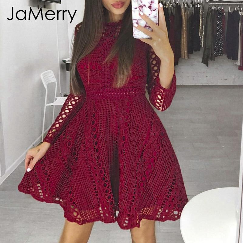 JaMerry Sexy o neck high waist lace dress women Elegant long sleeve hollow out party dress Autumn winter women dress femme 2018 semi formal summer dresses