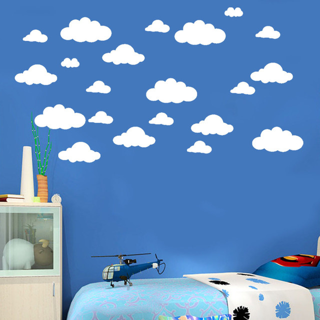 31pcs diy large white clouds wall decals children's room home