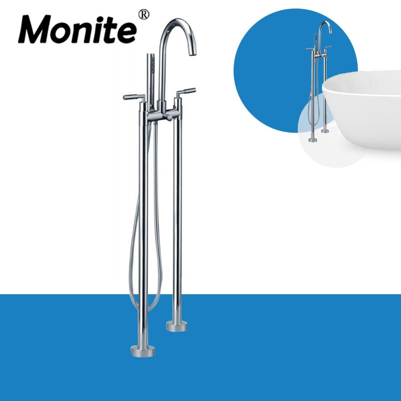Floor Stand Faucet Polished Chrome Brass Shower Faucet Set With Handheld Shower Mixer Tap Dual Handle