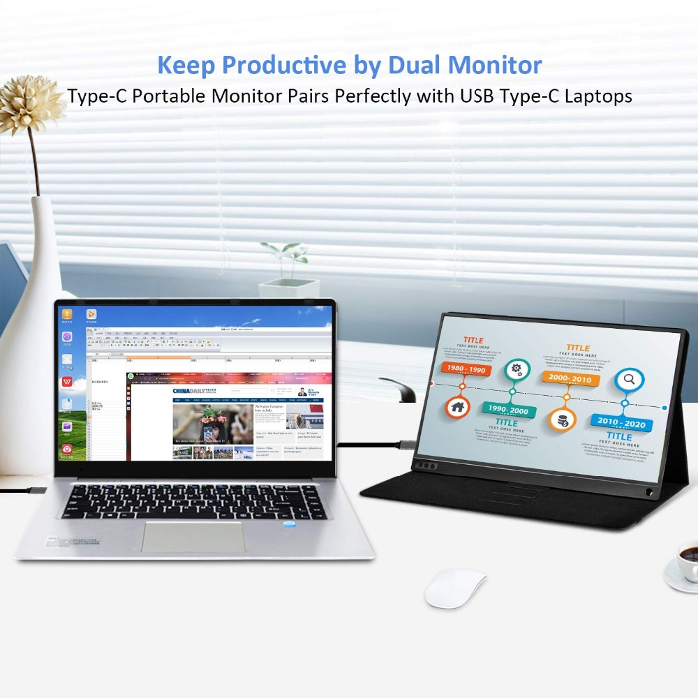 Portable Monitor 15.6 USB Type-C Full HD 1080 IPS USB C Portable Monitor Built-in Dual Speakers Compatible with Computer  Laptop