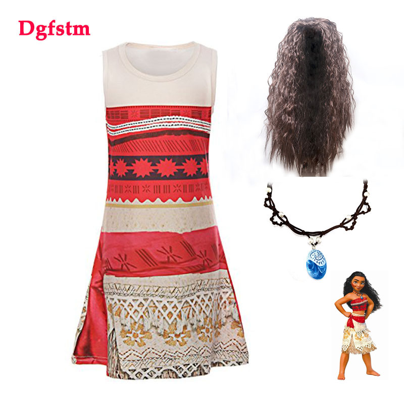 2018 Summer Dress Girls Vaiana Princess Dresses Kids Party Cosplay Clothing With Wig Children Clothes Fantasia Moana Costumes аксессуары для косплея cosplay wig cosplay cos cos