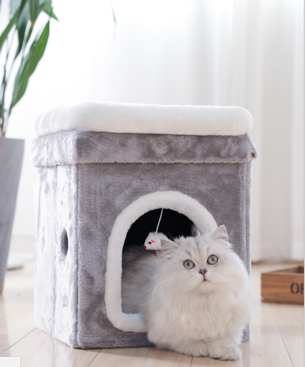 Кошка, иглу, съемная покрытая кровать для маленькой собаки, мягкая кровать для дома M