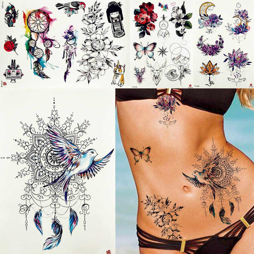 0dd2024cf Women Dreamcatcher Peace Pigeon Birds Tattoos Temporary Tribal Feather Body  Arm Waist Bracelet Flower Tatoo Fake