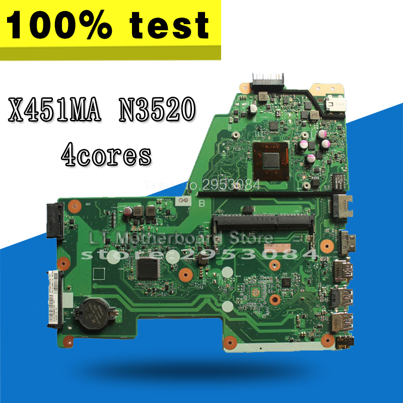 X451MA Motherboard REV2.1 N3520 CPU For ASUS X451M X451MA Laptop Motherboard X451MA Mainboard X451MA Motherboard Test 100% OK