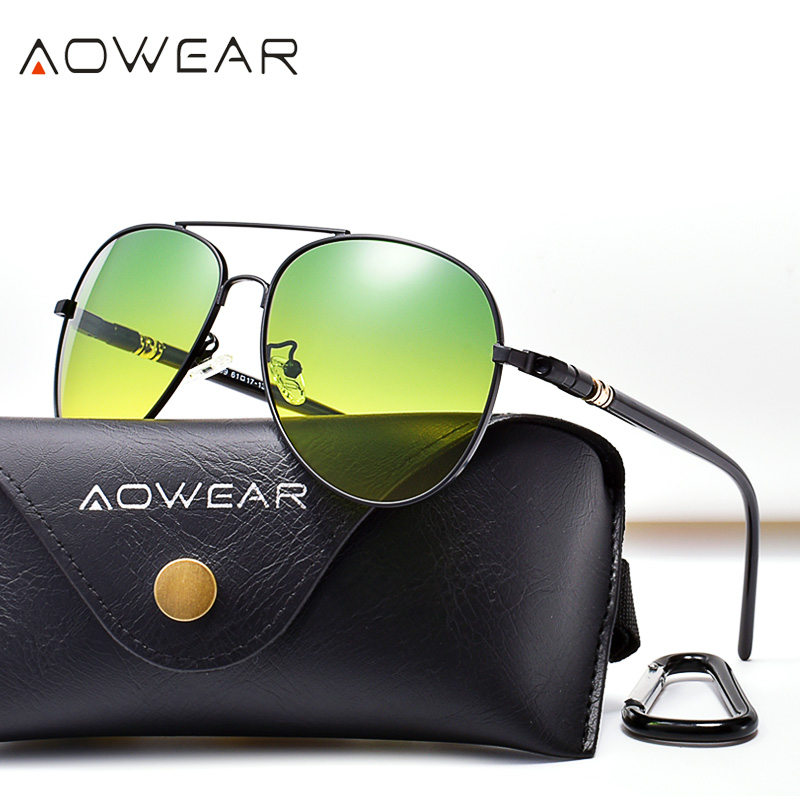 AOWEAR Day Night Vision Sunglasses Men Polarized Aviation Day and Night Sight Car Driving Glasses Anti-glare HD <font><b>Driver</b></font> Goggles image