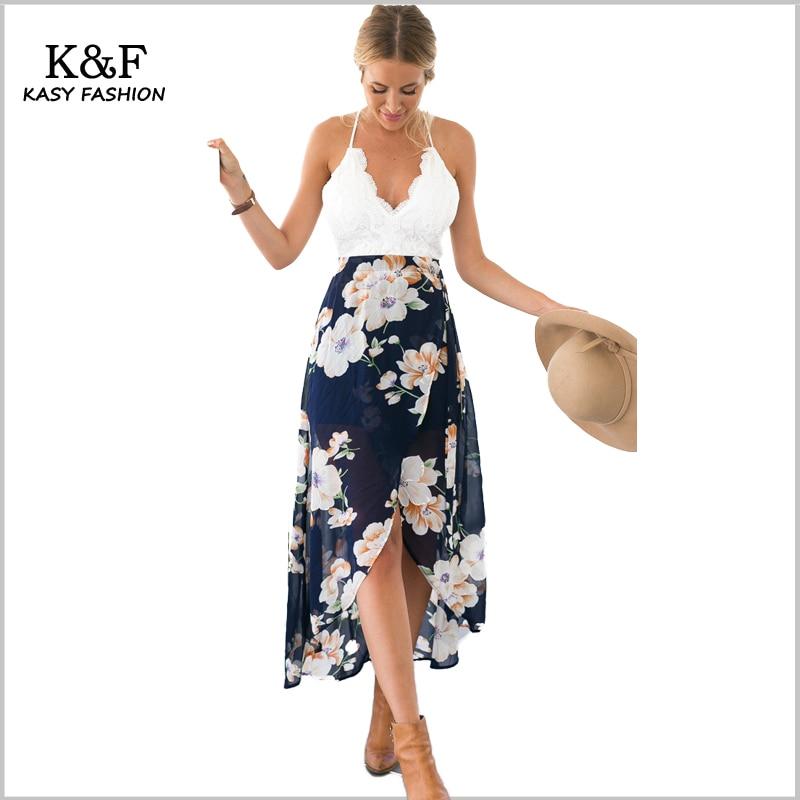 KASY 2018 New Arrivals Sexy Lace Chiffon Beach Dress Women Summer Sleeveless  V neck sphaghetti strap boho printed slit dress
