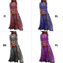 Womens Plus Size Roll Up Half Sleeve Maxi Blouse Dress Open Front Button Down Rainbow Vertical Stripes Lapel Collar Shirt Sundre plus size arab embroidered open front blouse