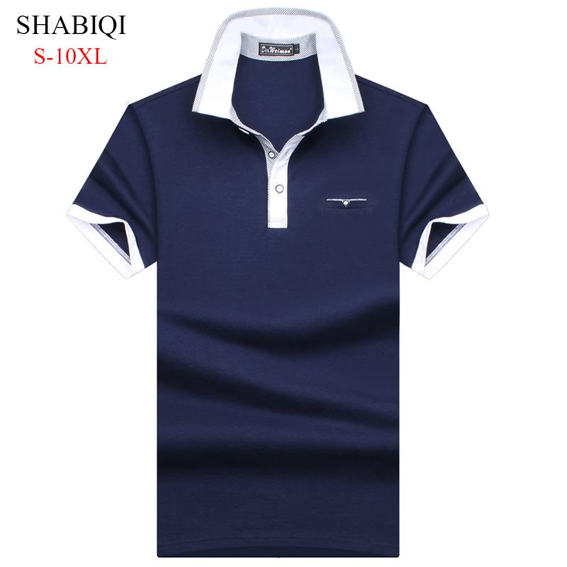 Plus Size S-10XL! 2018 New Brand Fashion 95% Mercerized Cotton Men   Polo   Shirt Summer Short Sleeve   Polos   Shirt Mens Solid Shirt
