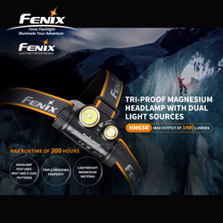 Dual Light Sources Fenix HM65R 1400 Lumens Tri-proof Magnesium Headlamp for Long-time & High-intensity Outdoor Activities
