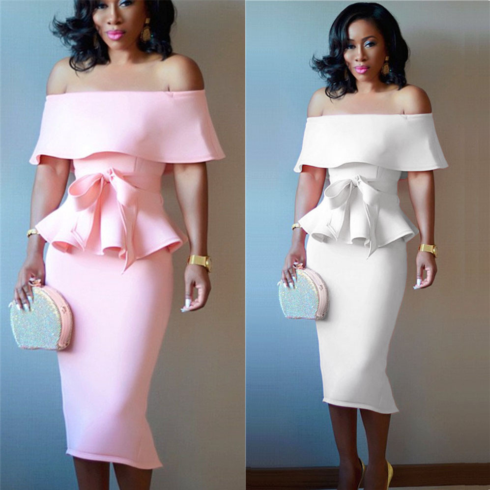 2019 Summer New Arrival Off Shoulder Bowtie Ruffles Eplum Pencil Dress Icecream Color Seperate 2 Pieces Slim Mid Dress Vestidos Платье