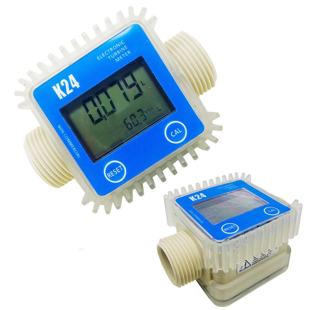 1pcs K24 Digital Fuel Flow Meter Blue Turbine Meter For Chemicals Water new arrival pro k24 digital fuel flow meter for chemicals water random color free shipping