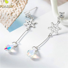 Flyleaf 925 Sterling Silver Earrings For Women Snowflake Zircon Color Crystal Christmas Drop Simple Long Earings Fashion Jewelry