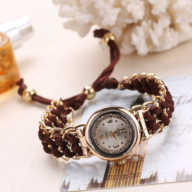 fashion Women Knitting Rope Chain Winding Analog Quartz Movement Wrist Watch bra