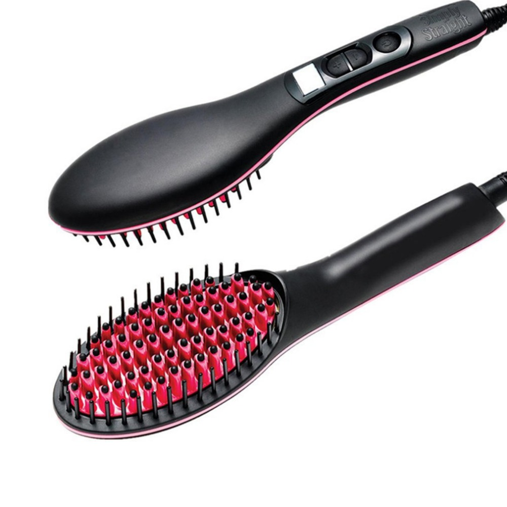 Portable Handheld Electric Hair Straight Brush Pro LCD Display Fast Hair Straightener Comb Straightening Irons Styling Tool titanium plates hair straightener lcd display straightening iron mch fast heating curling iron flat iron salon styling tools