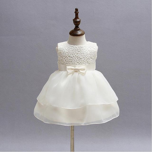 Vintage White Baby Wedding Dress 2016 Summer 1 Year Birthday Flower Lace Toddler