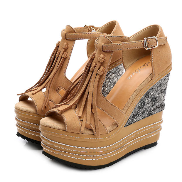 32-39 Women's Wedges Sandals Platform Super High Heels Fringe Strap Woman Sandals For Ladies Womans Summer Shoes Gladiator 2017 phyanic 2017 gladiator sandals gold silver shoes woman summer platform wedges glitters creepers casual women shoes phy3323