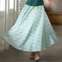 Free Shipping Women Long Skirts Sakura Print Blend Linen Long Shirt Casual Skirt For Spring Chinese