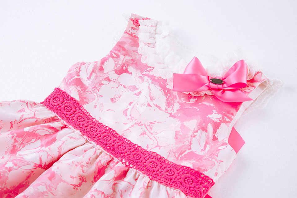 785d2170c0069 Pettigirl Pink Flower Print A line Kids Dresses Lace Collar Bow Summer Girl  Dress baby clothes With Headband G-DMGD105-B257