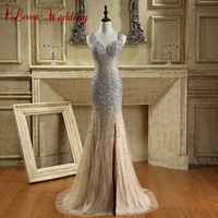 c79f5bf1f57 2016 New Arrival Tulle Lace Evening Dress Long Sweetheart Mermaid Open Back Prom  Dresses Beaded Crystals