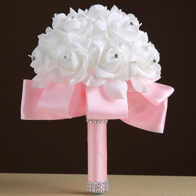 High Quality Fashion 6 Colors Bridal Bouquet Rose Foam Crystal Diamante Wedding Handmade Bridesmaid Flower