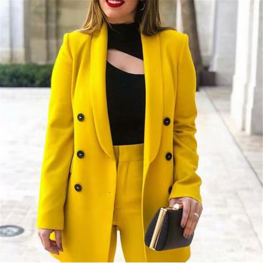 Women Jackets 2019 Spring Autumn Coats Formal Work Coat Office Lady Fashion Leisure Slim Jacket Long Sleeve Blazers Yellow Suit