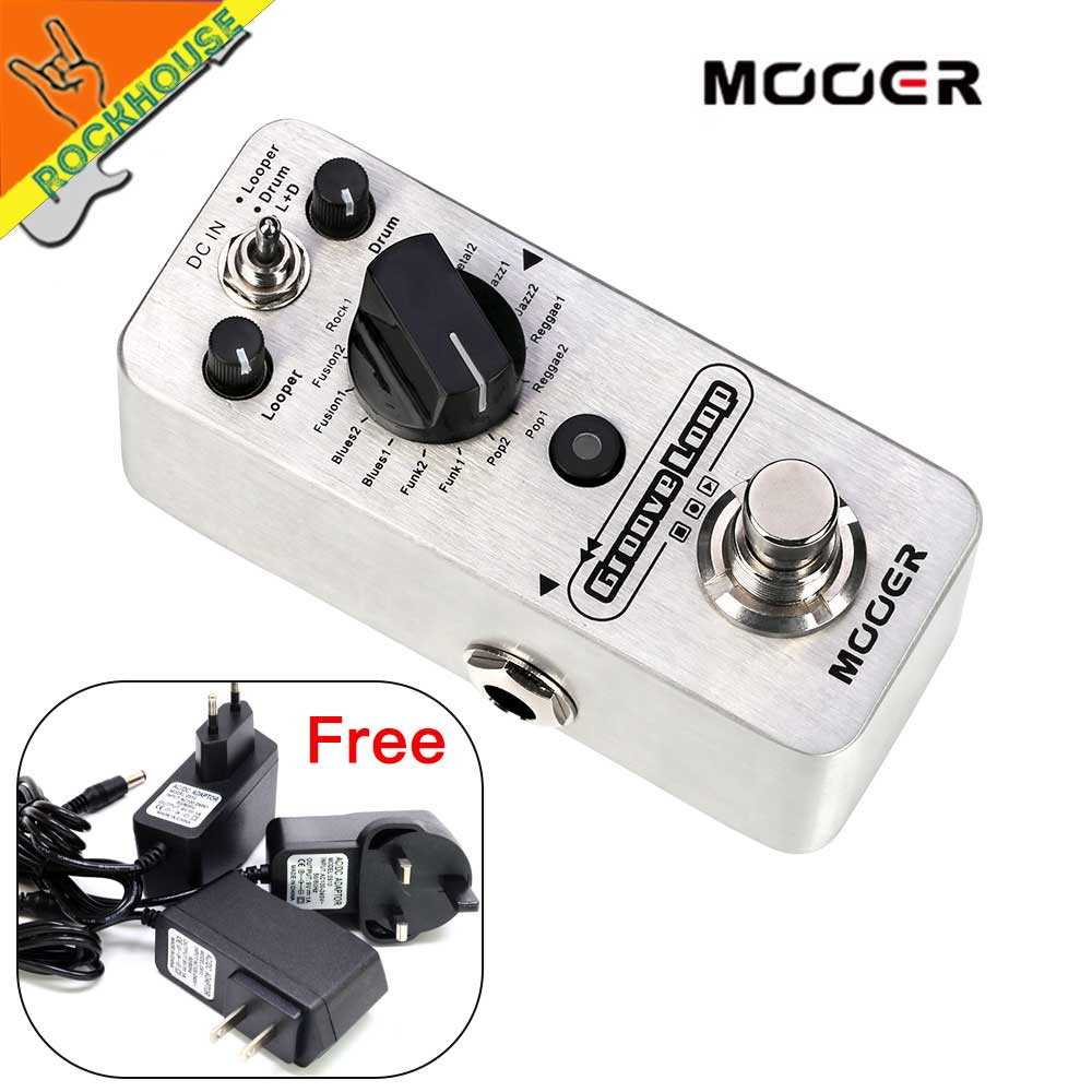 Mooer Groove loop Guitar Effects Pedal Looper Pedal 20 minutes Recording Time with Drum Patterns unlimited recording round hand made triple effects loop pedal 3 looper switcher guitar pedal hb 1
