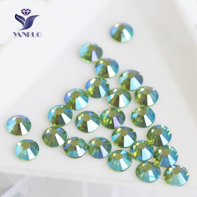 YANRUO 2058HF SS6 SS30 Peridot AB Crystals Hotfix Rhinestones Clothing Iron  On Strass Cristal Glass Stones Wedding Dresses-in Rhinestones from Home    Garden ... f0fc082df928