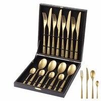24 Pcs/set Golden Making old Cutlery Dinner Table Sets Tableware Stainless Steel Gold Fork Spoon Knife Set Dinnerware Restaurant