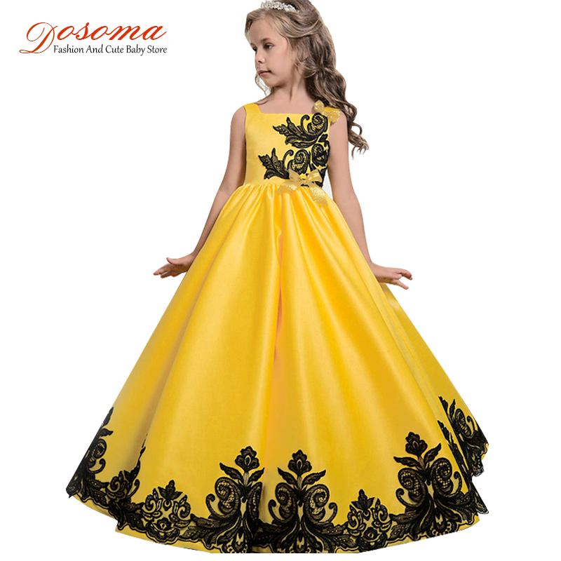 Dosoma Embroidery Flower Girl Dress Long Lace Fashion Party Princess Dress Tutu Wedding Kids Dresses For Girls Clothes 5-15years new fashion embroidery flower big girls princess dress summer kids dresses for wedding and party baby girl lace dress cute bow