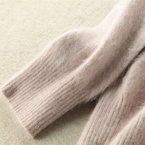 Image 5 - 2020 outono inverno camisola feminina 100% mink cashmere suéteres e pulôver macio quente topos feminino o pescoço manga longa básico jumper