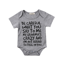 0-24M Casual Newborn Baby Boy Girl Short Sleeve Letter Print Cotton Romper Jumps