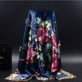 2016 большой размер 90 x 90 см шелковая косынка женщины мода марка высокое качество дешевое имитационные шелковый атлас шарфы полиэстер шаль хиджаб