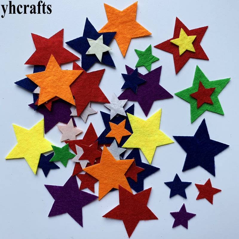 1bag(30-50PCS) Star Felt Stickers Fabric Crafts Early Learning Educational Toys School DIY Lessons Kindergarten Crafts Gifts Oem