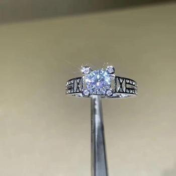 Round Silver Moissanite Ring 1ct D VVS Luxury Moissanite Weding Ring for Women