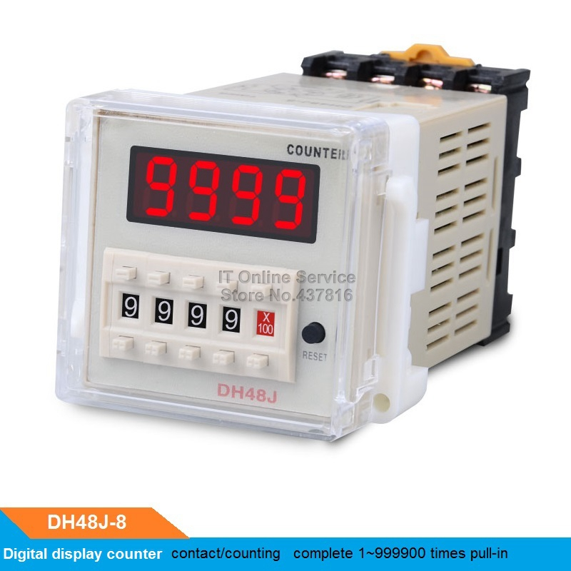 DH48J-8 220V Digital display counter  8 pins counting relay 1~999900 times pull-in ac380v panel mount 8p 1 999900 count range digital counter relay dh48j dpdt