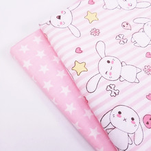 Rabbit/Star Printed Cotton Twill Fabric Various Sizes Patchwork Textile Cloth DIY Sewing Quilting For Baby Child