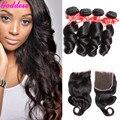 Vip красоты малайзии девы волос с закрытием малайзийский свободная волна с закрытием 6а малайзийская свободно 4 расслоения с закрытием
