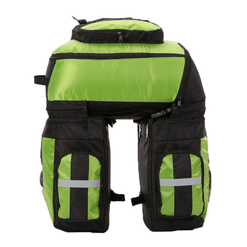 65L Bike accessories Bag Blue Green Red Double Bicycle Rear Seat Trunk Bag 3 in 1 Multifunction Road Bicycle Pannier Rear Seat bicycle basket 70l cycling bicycle bag bike double side rear rack tail seat trunk bag pannier with rain cover