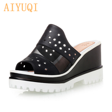 лучшая цена AIYUQI Women sandals platform 2019 new women sandals genuine leather shoes women summer Casual wedges shoes female sandals flip