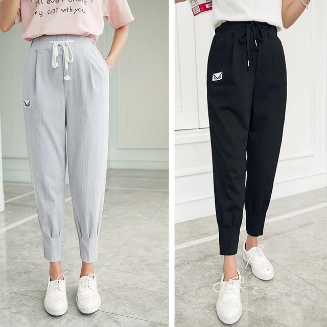 2016 New Women casual harem Nine pants high waist wide leg loose Elastic waist trousers plus size