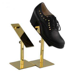 Image 2 - Free Shipping 10PCS/lot stainless steel Gold adjustable height heels holder rack shoes display shelf stand