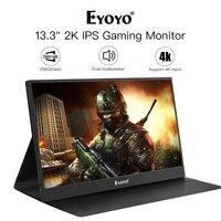 Eyoyo 13 Портативный ПК игровой монитор, 2540x1440 Высокое разрешение ips CCTV монитор с HDMI входом для Xbox/Raspberry Diy работа