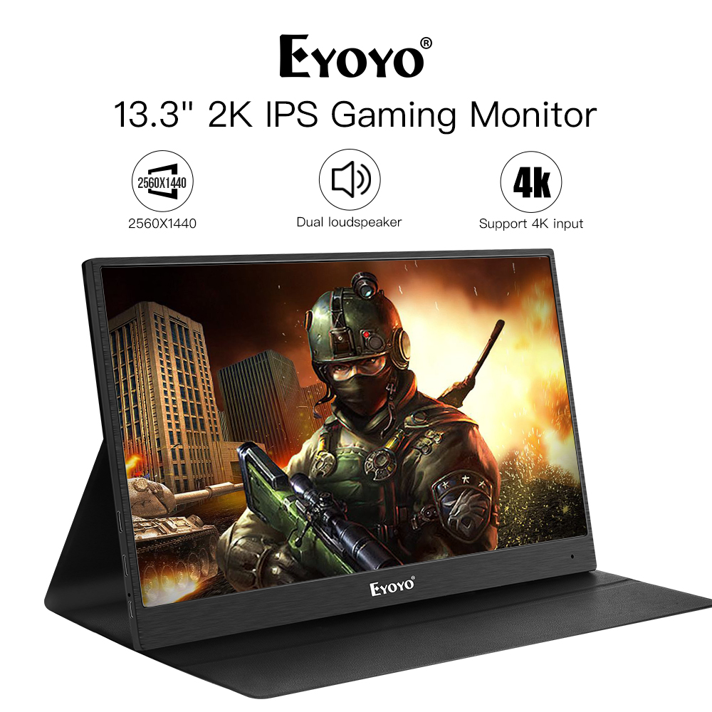Eyoyo 13 Portable PC Gaming Monitor, 2540x1440 High Resolution IPS CCTV Monitor with HDMI Input for Xbox/ Raspberry Diy Job