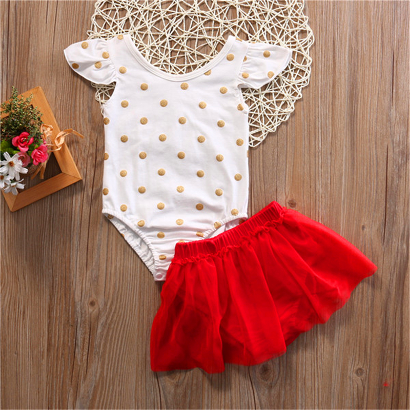 Babies Girl Summer Bodysuit Skirt Clothing Set Cute Newborn Baby Girls Polka Dots Jumpsuit Tutu Skirts 2pcs Outfits Set 2019 in Clothing Sets from Mother Kids