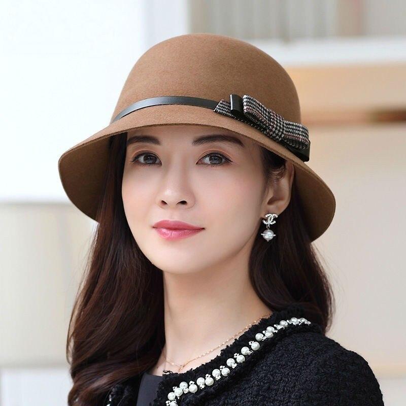 DOSOMI 100/% Wool Women Felt Bowknot Bowler Cap Lady Cloche Fedoras Autumn Winter Wide Brim Bowler Church Hats