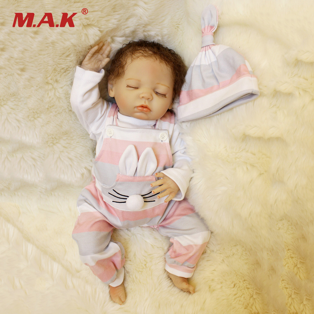 45CM Bebe Dolls Sleeping Baby Doll Reborn Silicone with Curly Short Hair Girls Children Toys Gifts45CM Bebe Dolls Sleeping Baby Doll Reborn Silicone with Curly Short Hair Girls Children Toys Gifts